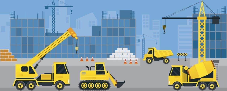 Vetor com máquinas de construção na gestão de logística